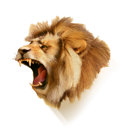 Photo pour Roaring lion, head vector illustration - image libre de droit