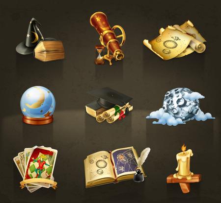 Ilustración de Set with astrology vector icons on dark - Imagen libre de derechos
