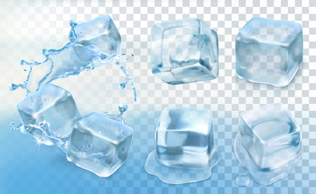 Set with Ice cubes, vector icons with transparency