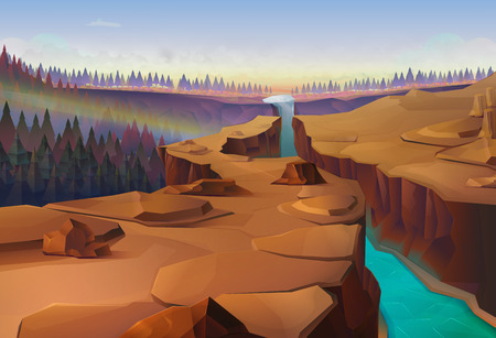 Illustration pour Canyon, nature vector illustration background - image libre de droit