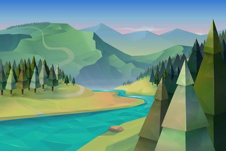 Illustration pour Forest landscape, nature vector background - image libre de droit