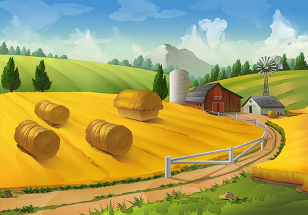 Illustration pour Farm, rural landscape vector background - image libre de droit