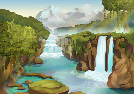 Illustration pour Forest and waterfall, nature landscape vector background - image libre de droit