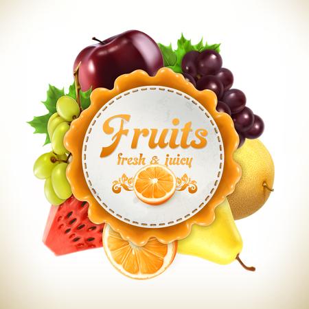 Illustration pour Fruits, vector label, isolated on white background - image libre de droit