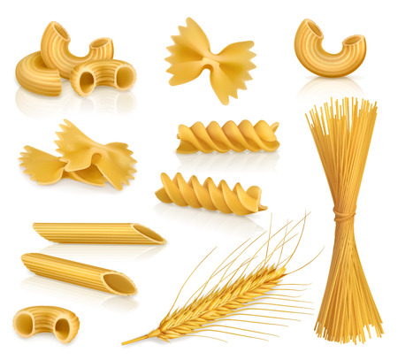 Illustration for Set with pasta, vector icons, isolated on white background - Royalty Free Image