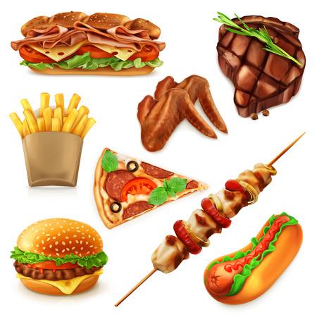 Ilustración de Set with fast food vector icons, isolated on white background - Imagen libre de derechos