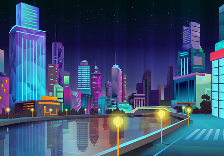 Illustrazione per Night city, vector illustration low poly style - Immagini Royalty Free