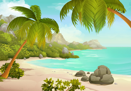 Illustration for Tropical beach vector illustration background - Royalty Free Image