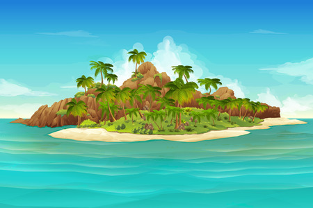 Illustration for Tropical island, vector illustration background - Royalty Free Image