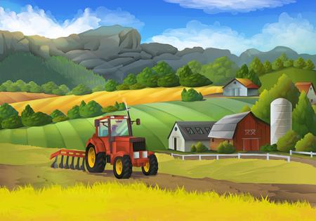 Ilustración de Farm rural landscape, vector background - Imagen libre de derechos