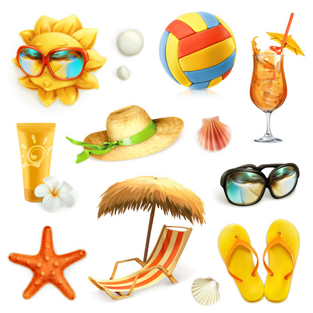 Ilustración de Summer beach, set of vector icons, isolated on white background - Imagen libre de derechos