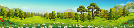 Illustration for Meadow and forest, nature landscape, vector background - Royalty Free Image