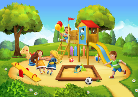 Illustration for Park, playground vector illustration background - Royalty Free Image