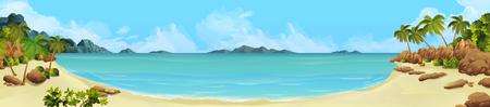 Illustration pour Sea panorama. Bay tropical beach. Vector background - image libre de droit
