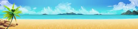 Illustration pour Sea panorama. Tropical beach Vector background - image libre de droit