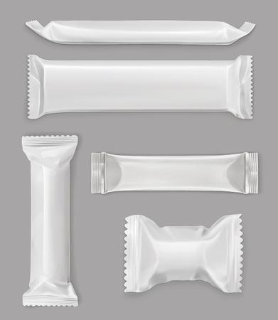 Illustration pour White polyethylene package, chocolate bar, vector mockup set - image libre de droit