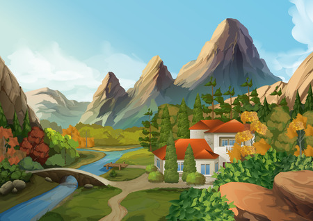 Illustration pour House in the mountains, nature landscape, vector background - image libre de droit