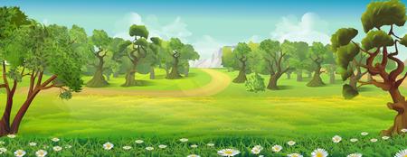 Illustration pour Meadow and forest nature landscape, vector background - image libre de droit