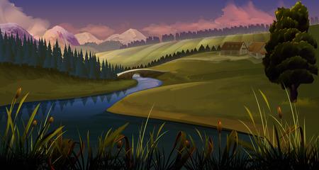 Illustration pour Nature, landscape river evening, vector background - image libre de droit