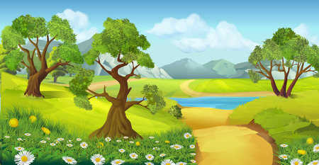 Illustration pour Nature, landscape, vector background - image libre de droit