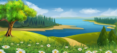 Illustration for Nature landscape, stream valley, vector background - Royalty Free Image