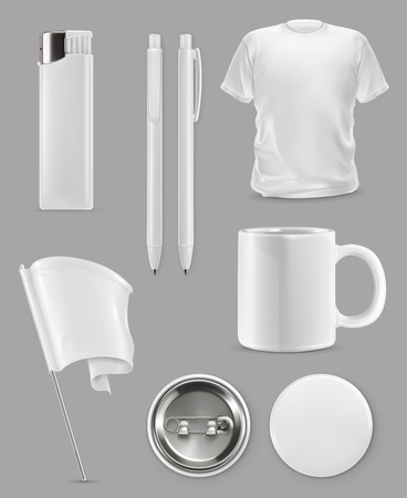 Illustration pour Promotional items, vector set mockup - image libre de droit