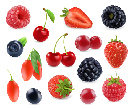 Illustration for Forest berry. Sweet fruit. 3d vector icons set. Realistic illustration - Royalty Free Image