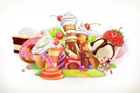 Illustration for Sweet shop. Confectionery and desserts, 3d illustration - Royalty Free Image