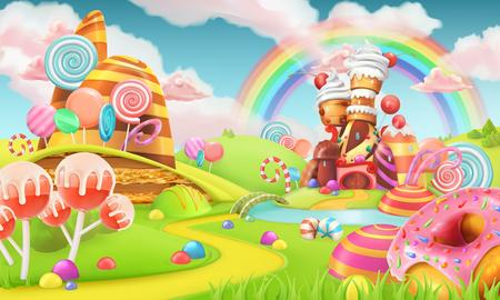 Illustration pour Sweet candy land. Cartoon game background. 3d vector illustration - image libre de droit