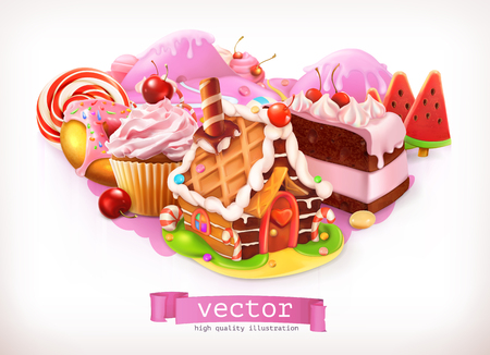Illustration for Sweet shop. Pink. Confectionery and desserts, cake, cupcake, candy. 3d vector illustration - Royalty Free Image