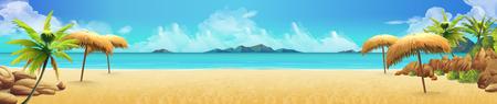 Ilustración de Sea panorama, Tropical beach. Vector background - Imagen libre de derechos