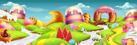 Illustration for Sweet landscape panorama. 3d vector background - Royalty Free Image