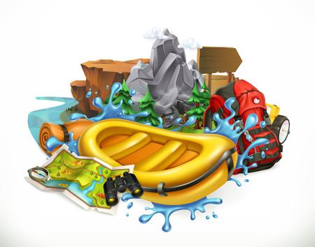Illustration pour White water rafting. Camping, adventure time vector illustration - image libre de droit