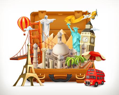 Illustration pour Travel, tourist attraction in suitcase, 3d vector illustration - image libre de droit