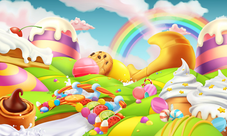 Illustration for Sweet landscape. Candy land. Candies and milk river 3d vector background - Royalty Free Image