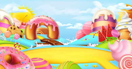 Illustration for Glade in a candy land. Sweet landscape, 3d vector panorama - Royalty Free Image