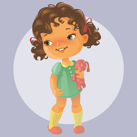 Illustrazione per Vector portrait of cute little girl with curly brown hair wearing green dress holding teddy bear. Kid playing with toy. Happy child. - Immagini Royalty Free