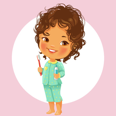 Ilustración de Vector portrait of cute little girl ready to brush teeth in the morning. Wear pajamas, hold toothbrush and toothpaste. Smiling schoolgirl with brown curly hair Isolated on white background. - Imagen libre de derechos