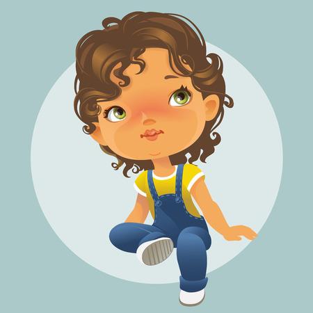 Ilustración de Vector portrait of cute little girl sitting looking up. Schoolgirl with brown curly hair wearing blue jeans jumpsuit. Isolated on white background - Imagen libre de derechos