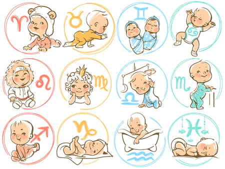 Photo pour Set of zodiac icons. Horoscope signs as cartoon characters. Cute baby boys and girls as astrological symbol. Colorful vector illustration. Baby in diaper, crawling, sitting, smiling, sleeping baby - image libre de droit