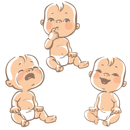 Foto de Set of baby emotion icons. Cartoon little babies in diapers, crying baby, smiling baby, curious. Vector lineart  ilustration on white background. - Imagen libre de derechos