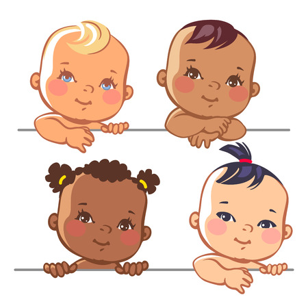 Photo for Smiling cartoon baby girls.  Multinational baby portrait. Multi-ethnic set of four babies. Different nationalities. illustration for banner or package. - Royalty Free Image