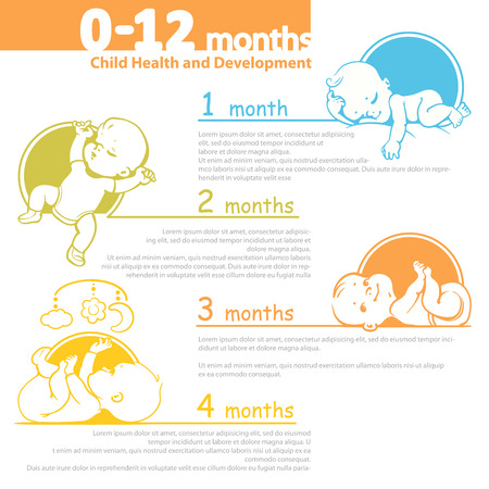 Ilustración de Set of child health and development icon.  Presentation of baby growth from newborn to toddler with text. - Imagen libre de derechos