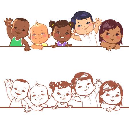 Illustration pour Multinational baby portrait. Multi-ethnic set of babies. Diverse nationalities. Toddlers holding blank banner. Vector illustration for school or kindergar en - image libre de droit