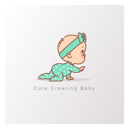 Ilustración de Baby girl in green pajamas crawl isolated. Curious baby. Design template. Vector color illustration. - Imagen libre de derechos