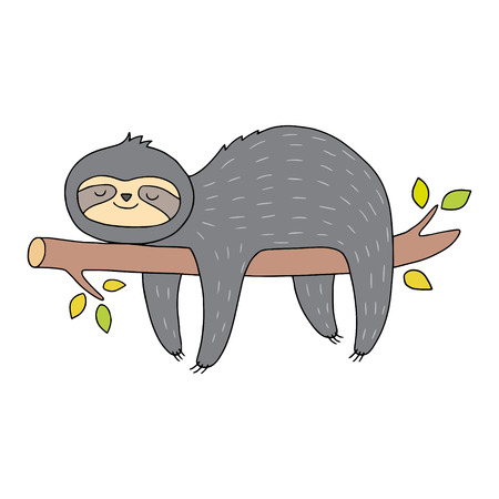 Illustration pour Cute sloth illustration. Vector drawing with outlines. Animal art for children. - image libre de droit
