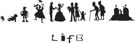 Life, born, childhood, school years, marriage, old age, death