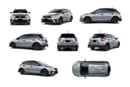 Silver Subcompact Car 5 Door Hatchback Variety of Angles. isolated on white background.