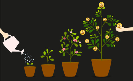 Illustration pour Investment is like planting trees. Take care it will provide a good growth. - image libre de droit