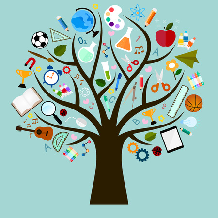 Foto de Vector Icons of study are many branches like tree - Imagen libre de derechos
